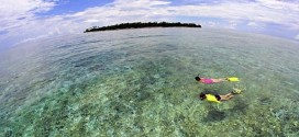 Women snokeling over coral reef by deserted island. Banda Sea, Indonesia