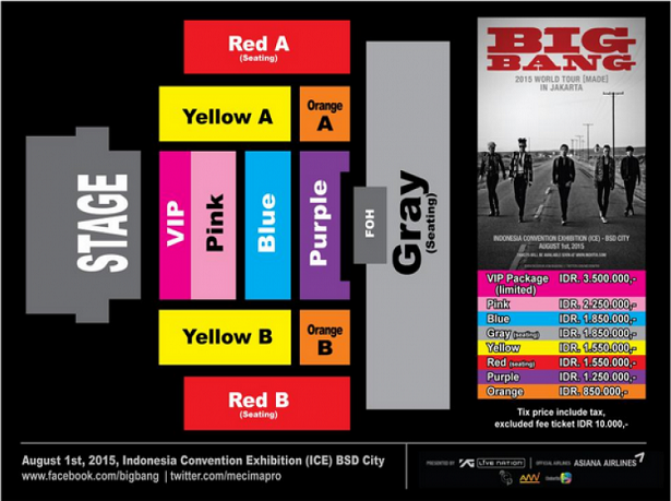 Big Bang World Tour Seatplan